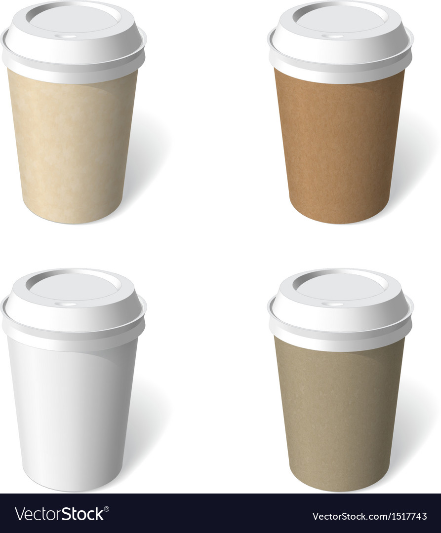 Paper cup blank template set vector image