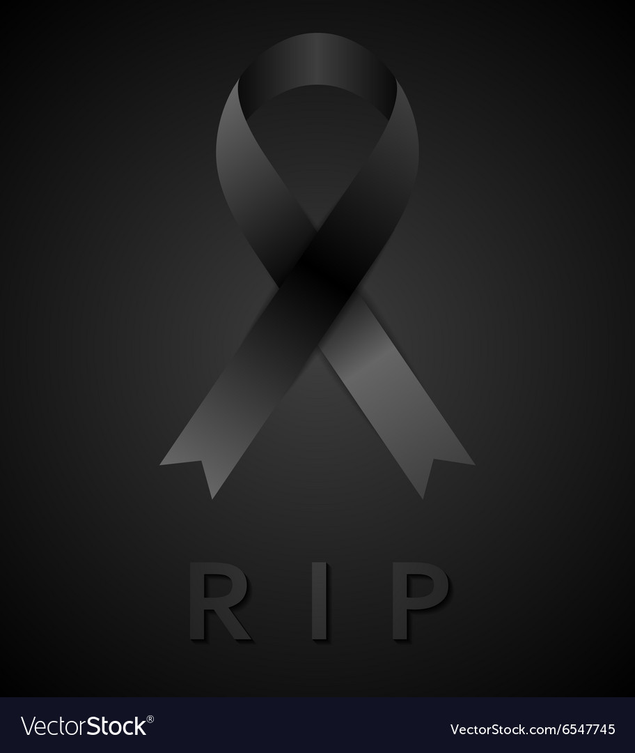 Black mourning tape and rip inscription vector image