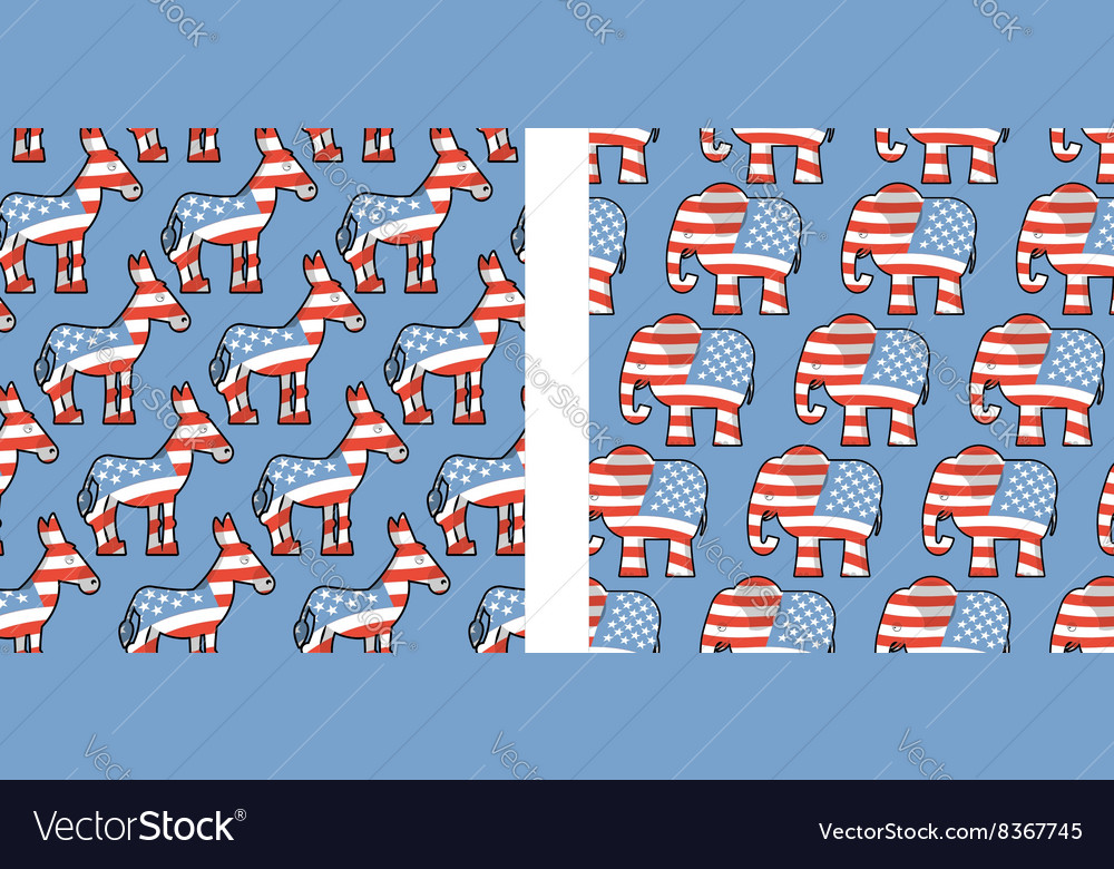 Donkey and elephant symbols of political parties vector image