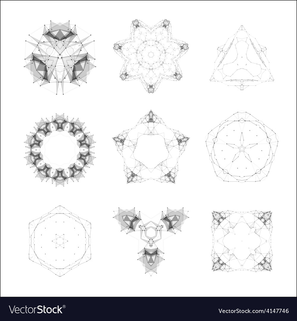 Set of geometric shapes lowpoly shapes triangles vector image