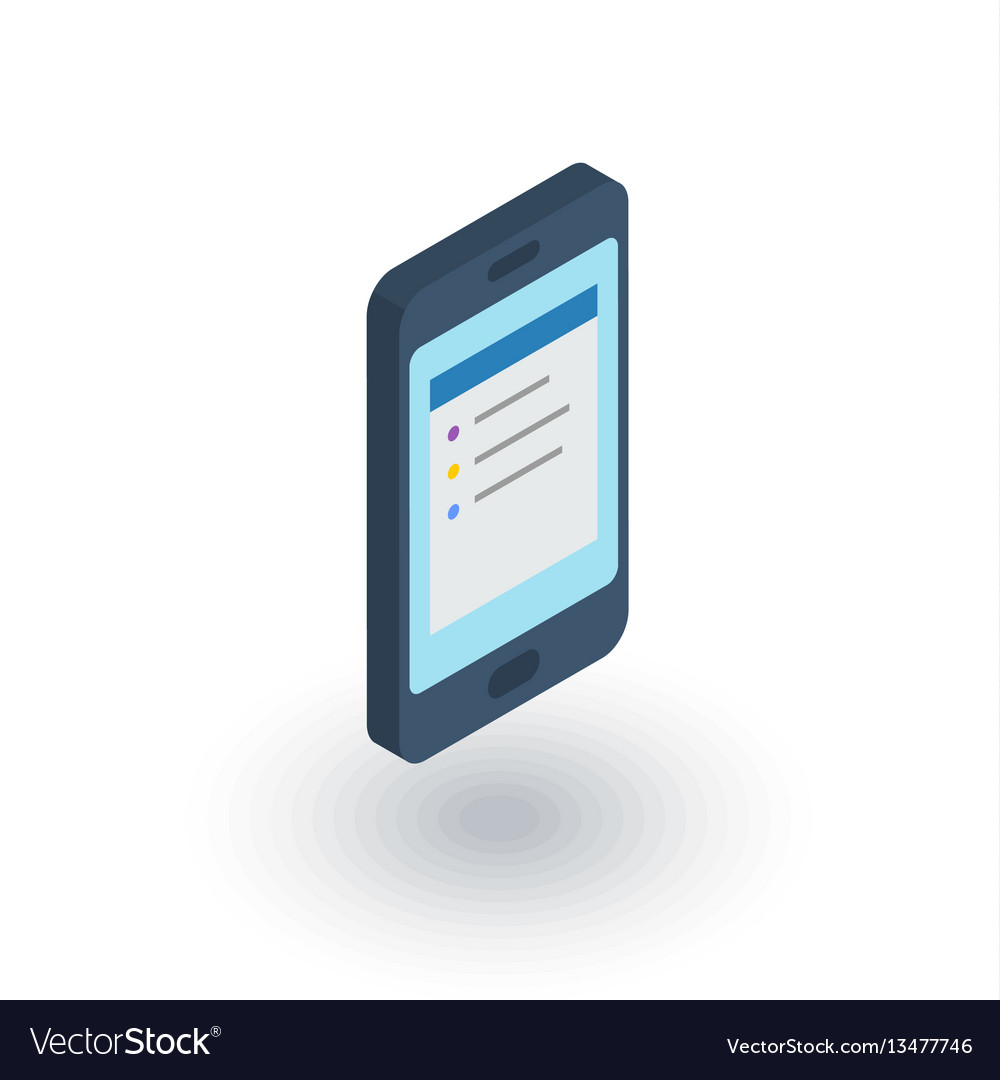 Smartphone mobile phone isometric flat icon 3d vector image