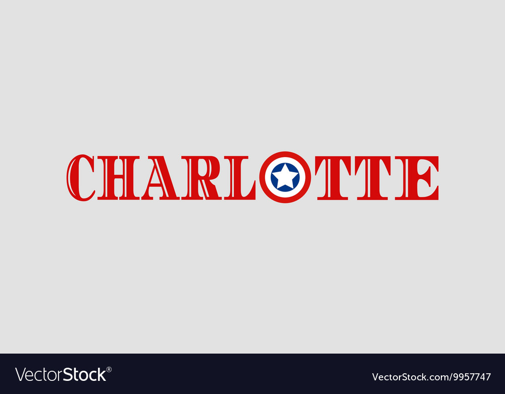Charlotte city name with flag colors vector image