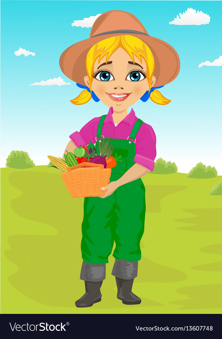 Cute little girl gardener with basket vector image