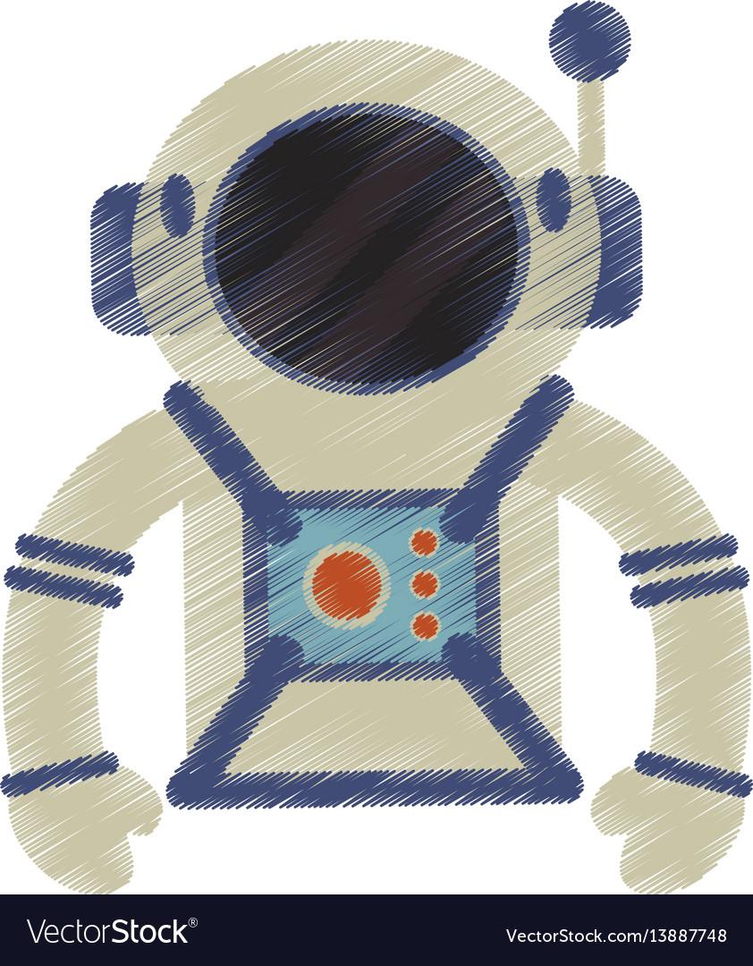 Drawing astronaut suit helmet space vector image