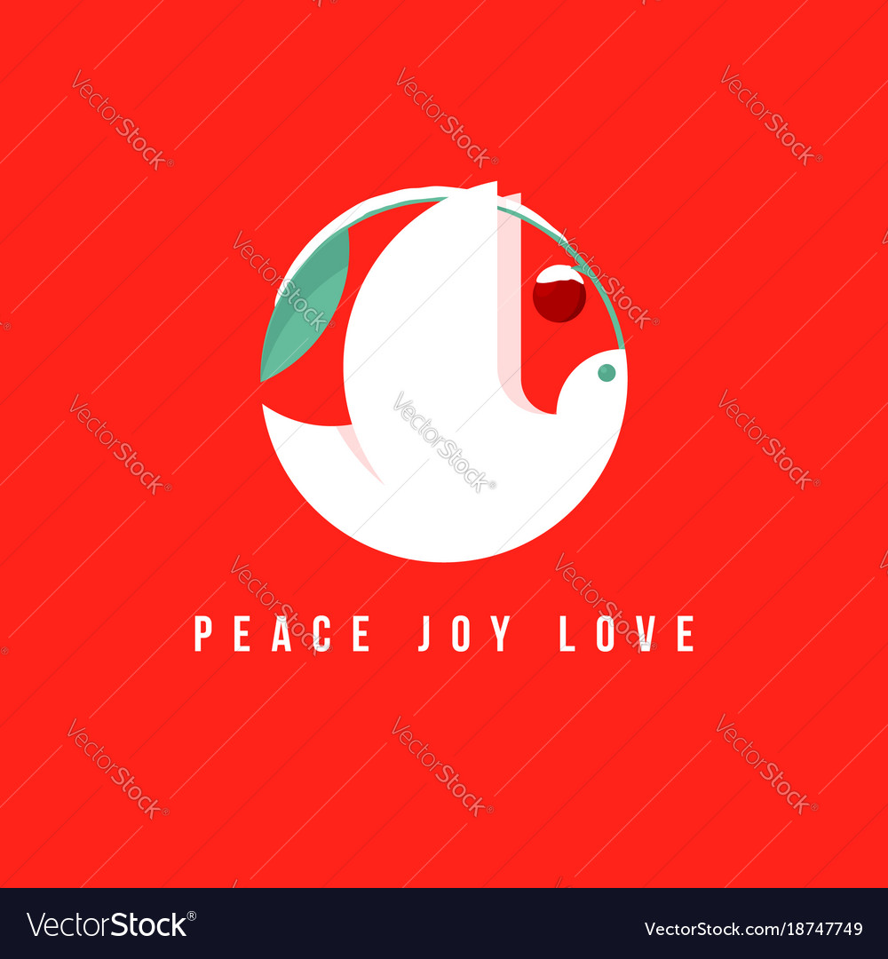 Christmas Card With Holiday Greetings And Dove Vector Image