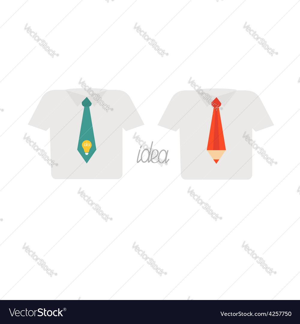 Businessman shirt and neck tie icon set light bulb vector image
