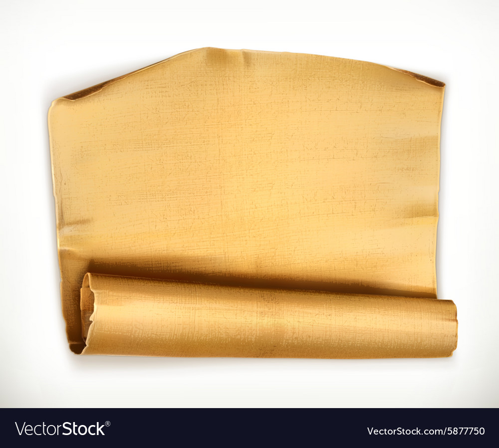 Old paper scroll object vector image