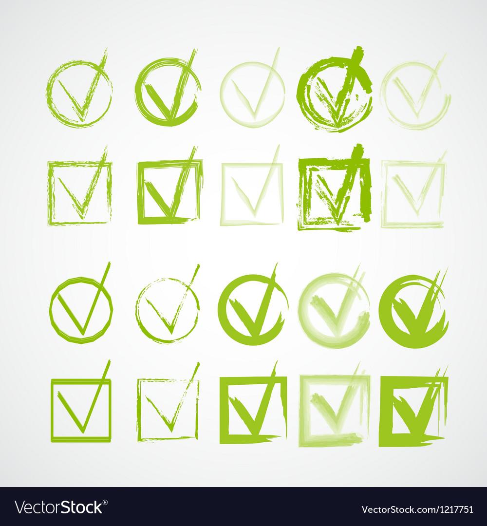 Set of hand-drawn check marks grunge checkmarks vector image