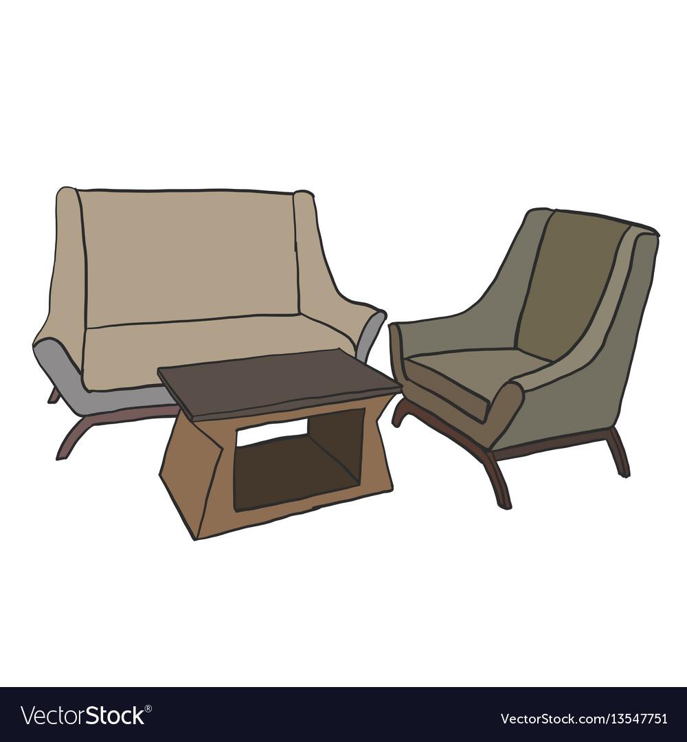 Furniture sofa set vector image