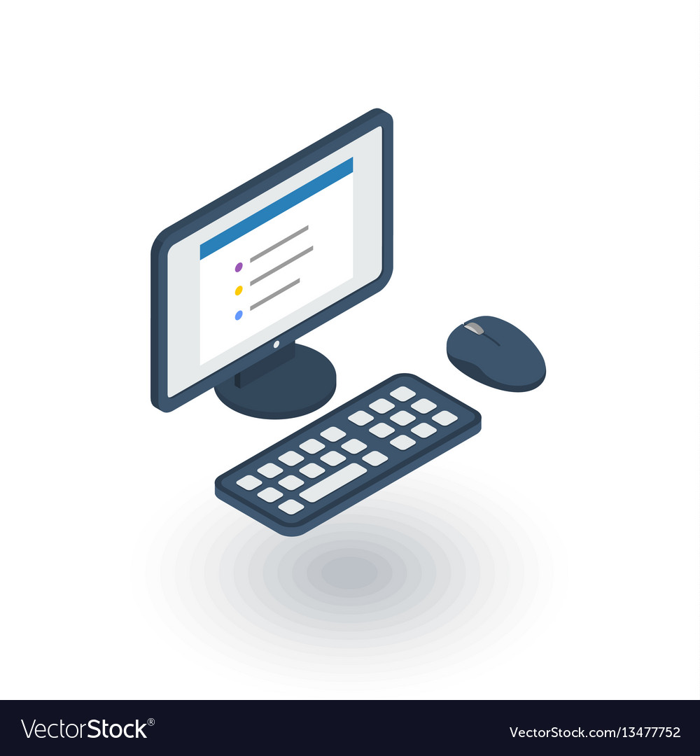 Computer desktop isometric flat icon 3d vector image