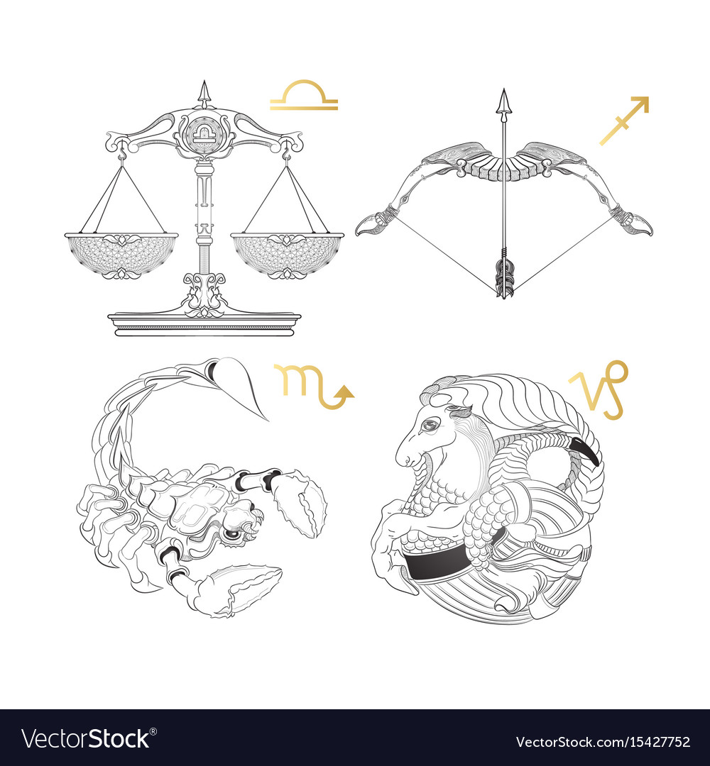 Hand drawn zodiac sign libra sagittarius scorpi vector image