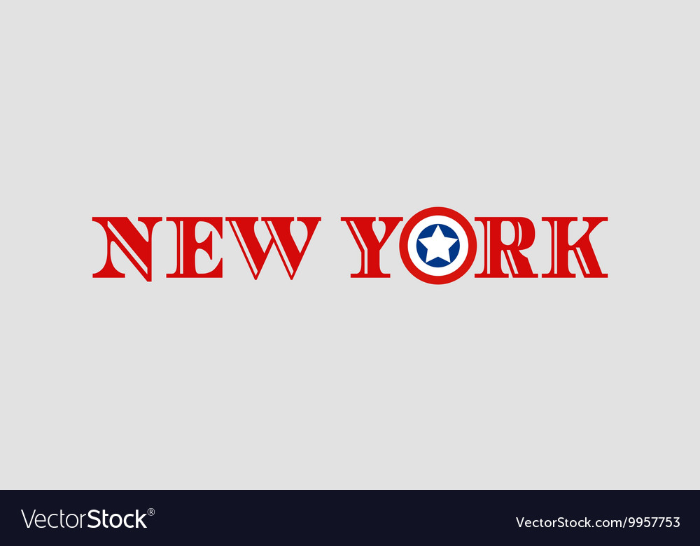 New York city name with flag colors vector image