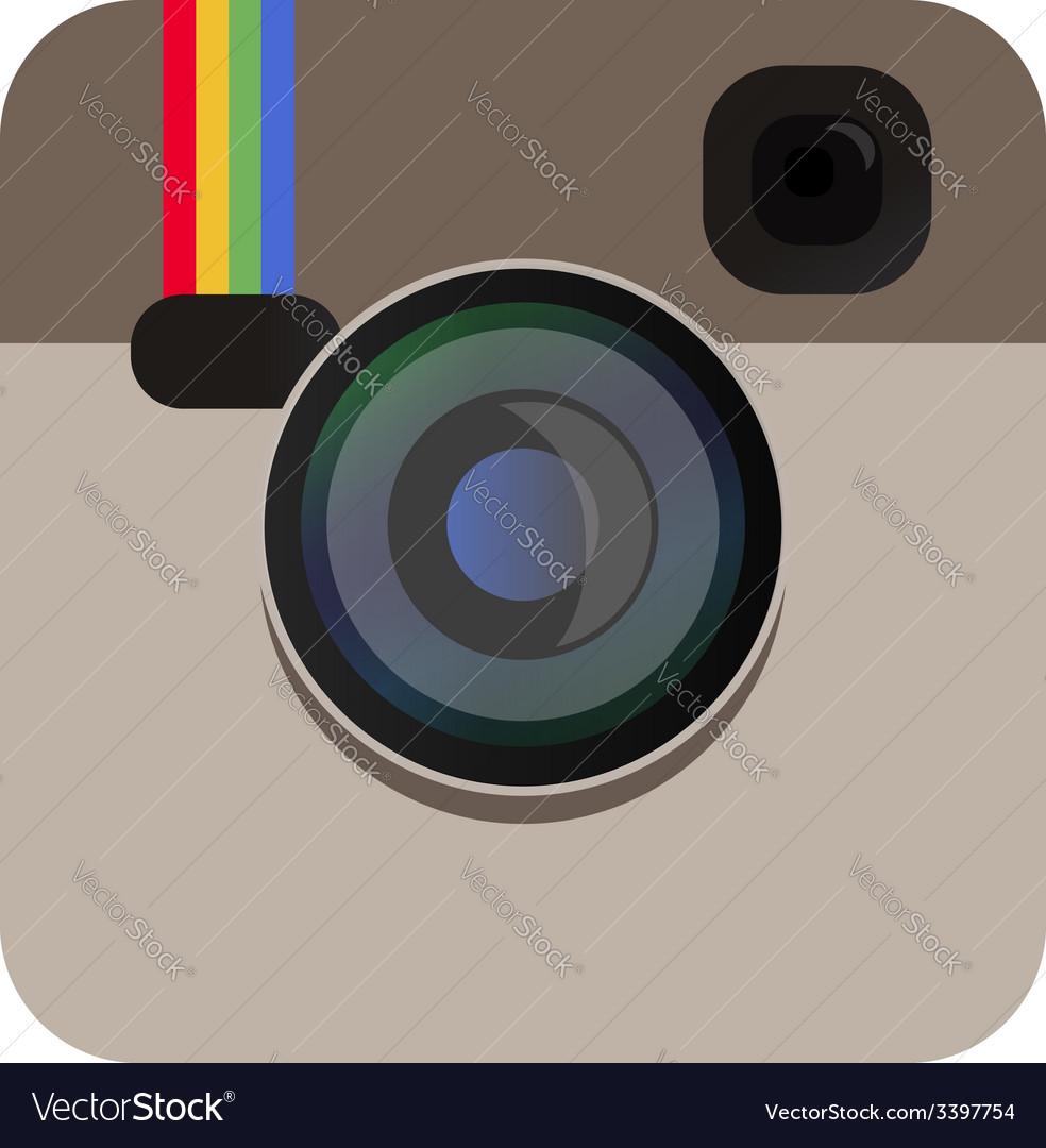 Camera icon beige color in vector image