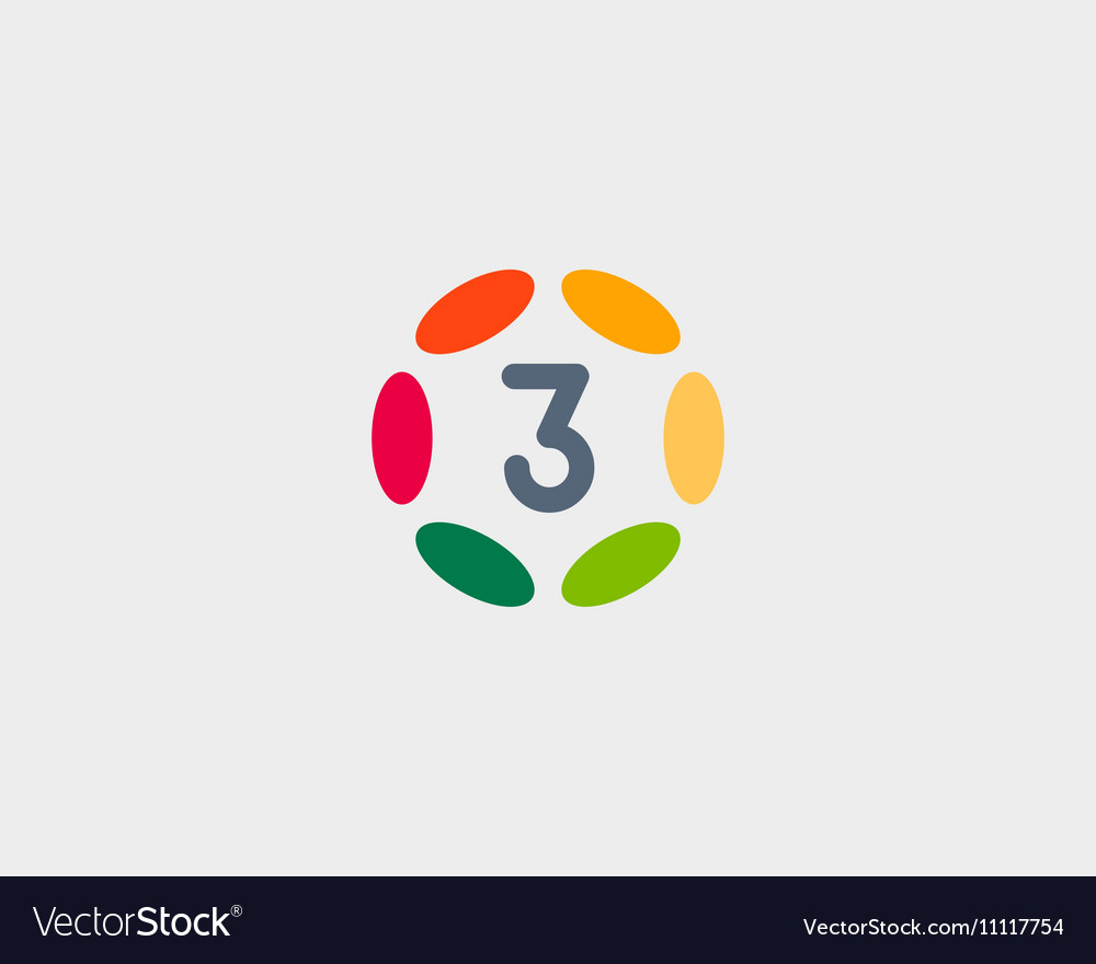 Color number 3 logo icon design Hub frame vector image