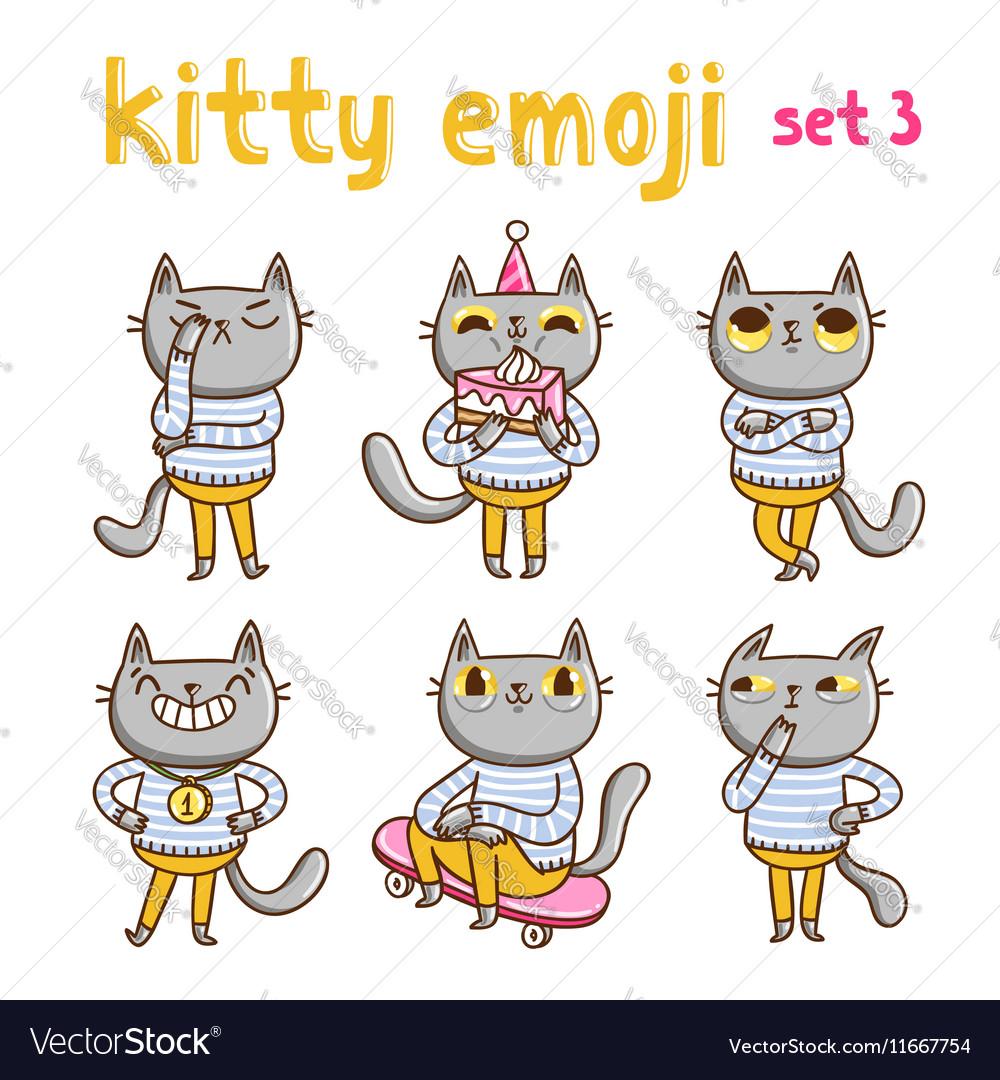 Kitty emoji set 3 vector image