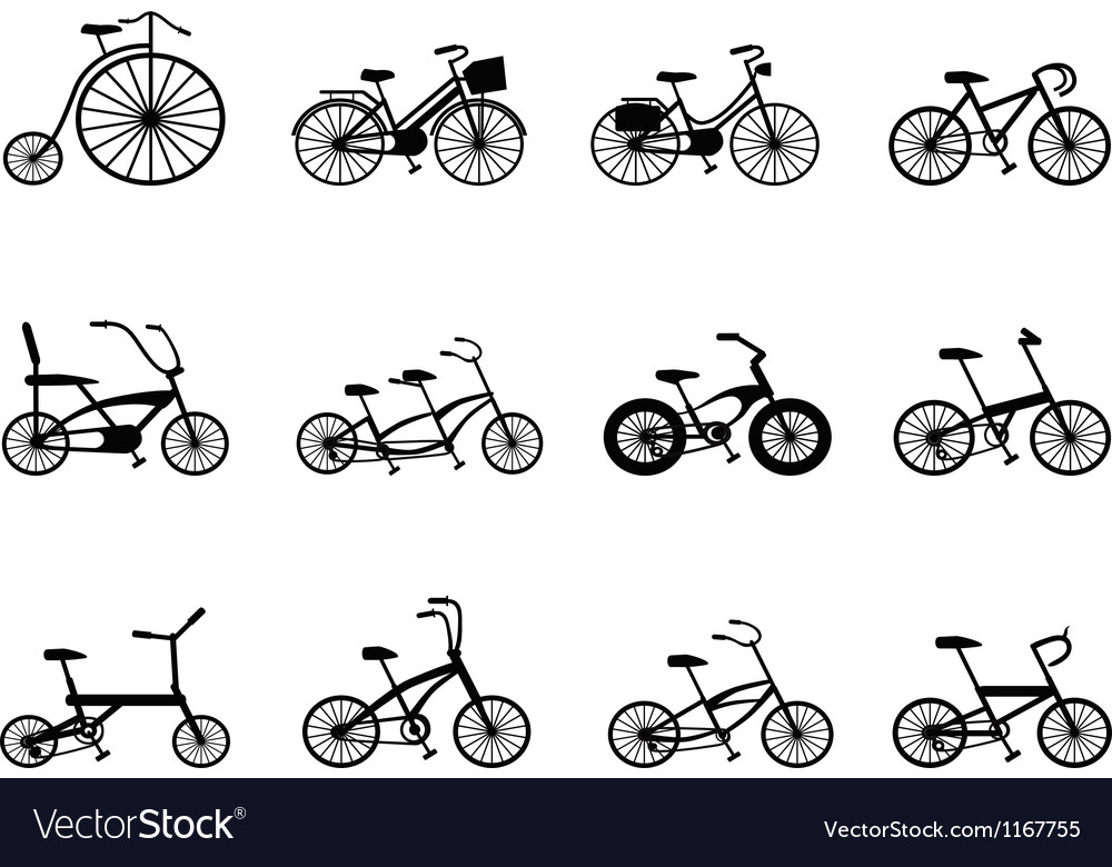 Bicycle silhouettes set vector image