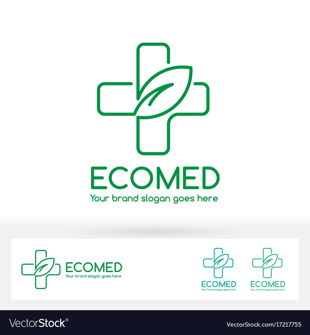 Eco medical clinic logo with cross and leaf symbol eco medical clinic logo with cross and leaf symbol vector image biocorpaavc