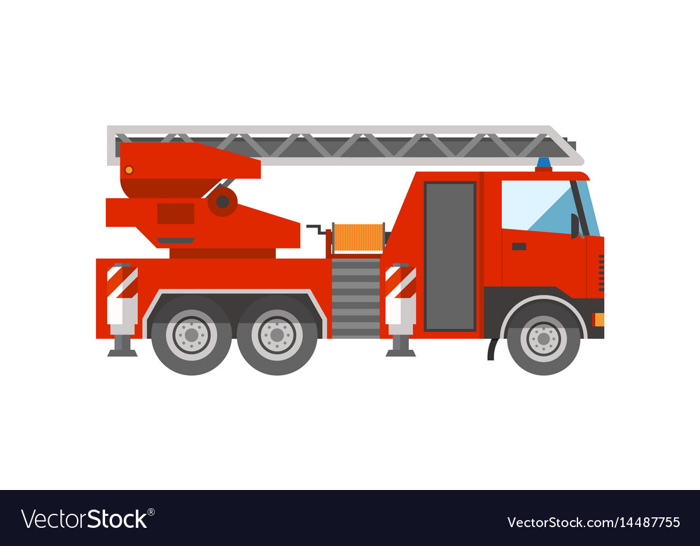 Firetruck emergency vehicle rescue ladder vector image