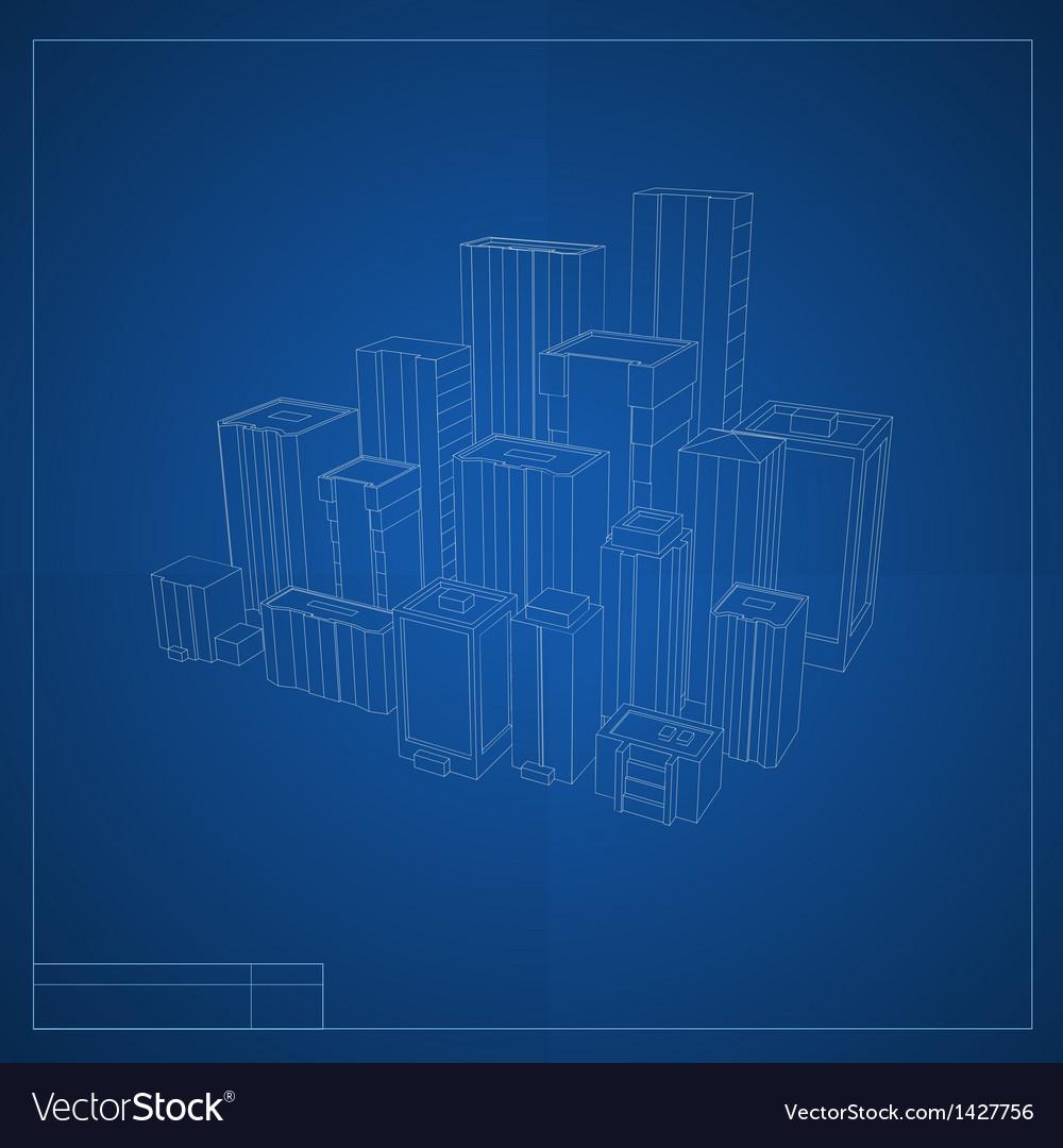 City blueprint vector image