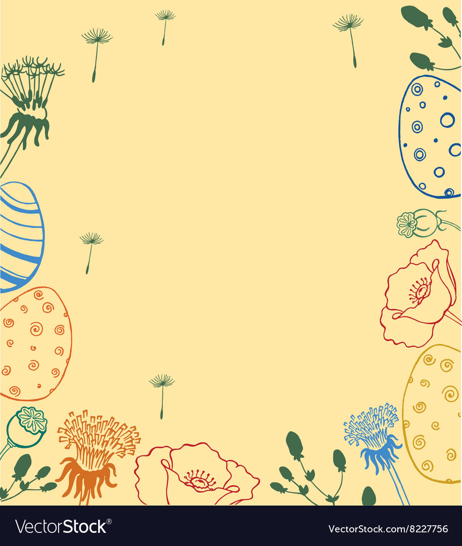 Easter wreath with easter eggs hand drawn vector image