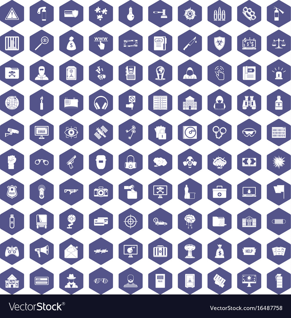 100 hacking icons hexagon purple vector image