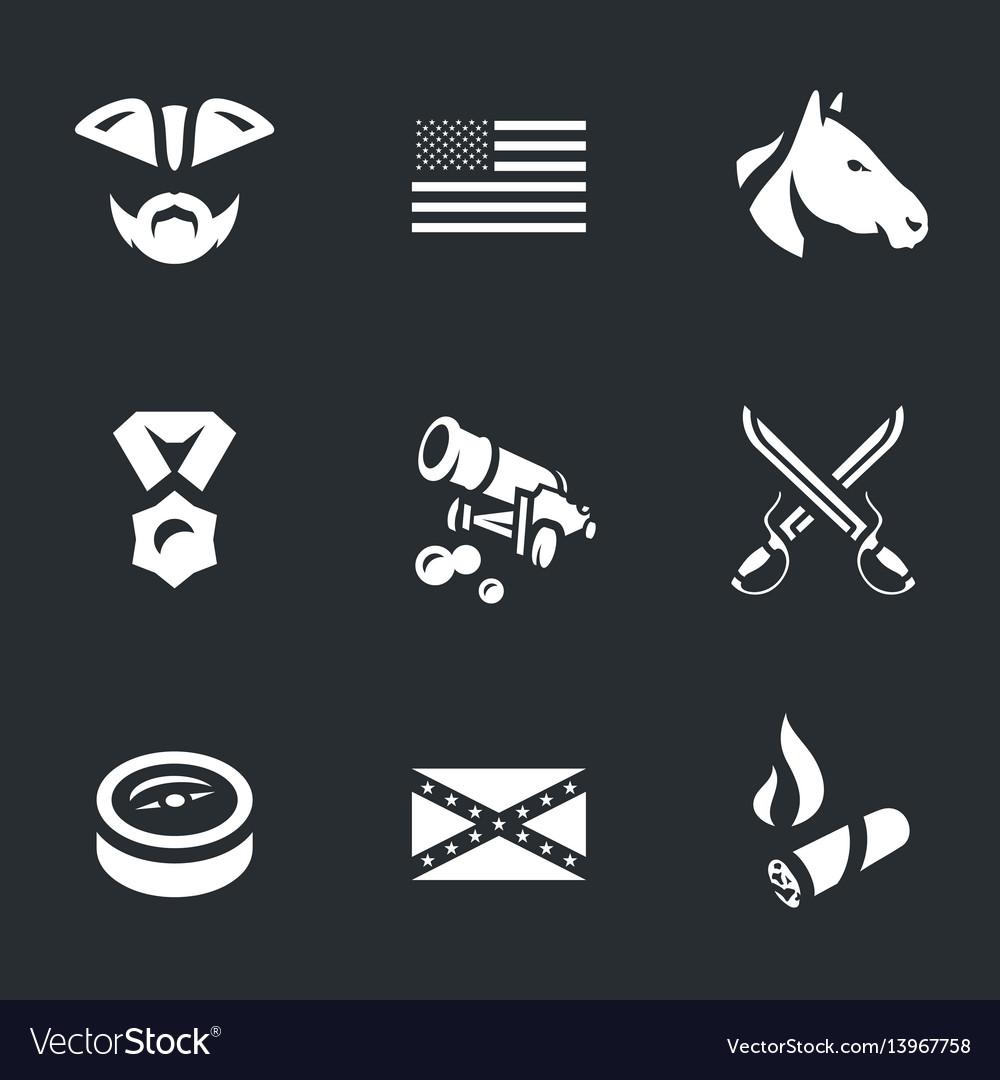 Set of civil war usa icons vector image