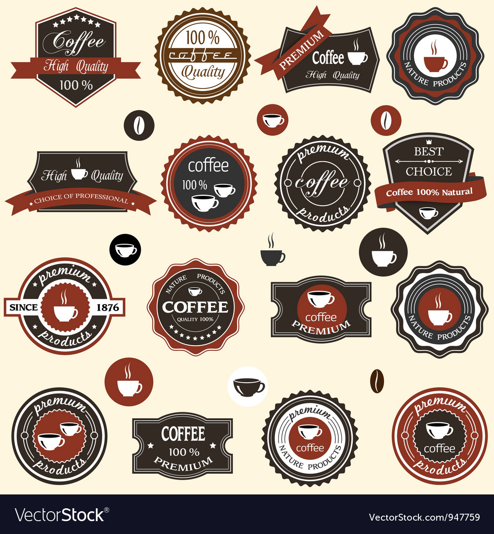 Coffee labels and elements in retro style vector image