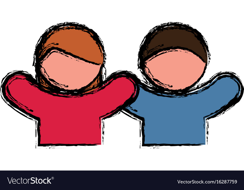 Pictogram couple of woman and man icon vector image
