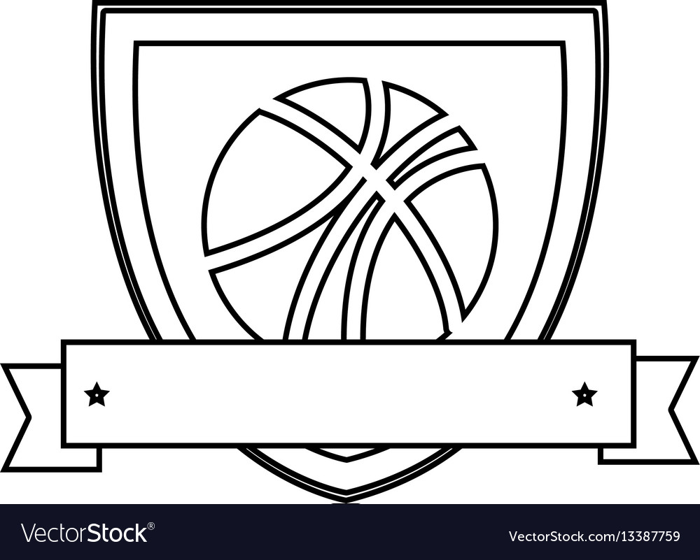 Silhouette shield with basketball ball and ribbon vector image