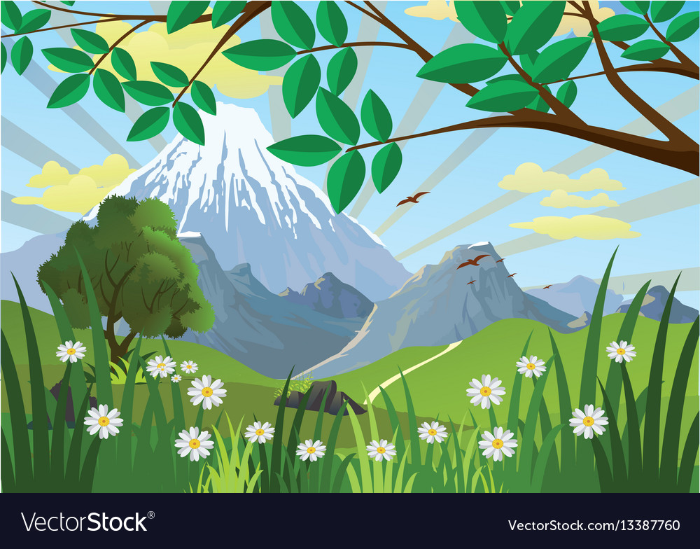 Landscape - mountains trees and flowers in the vector image