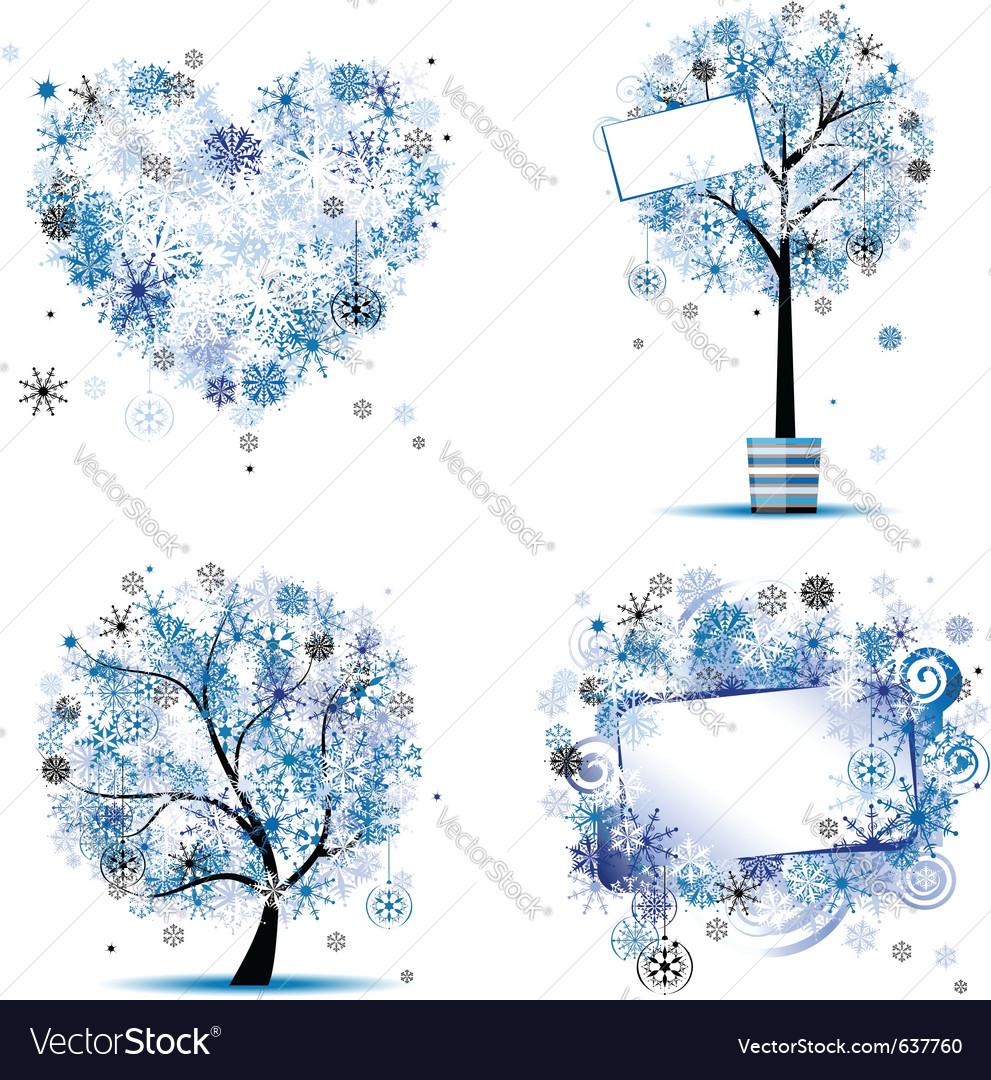 winter tree frames vector image - Winter Frames