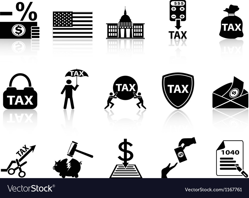 Black tax icons set vector image