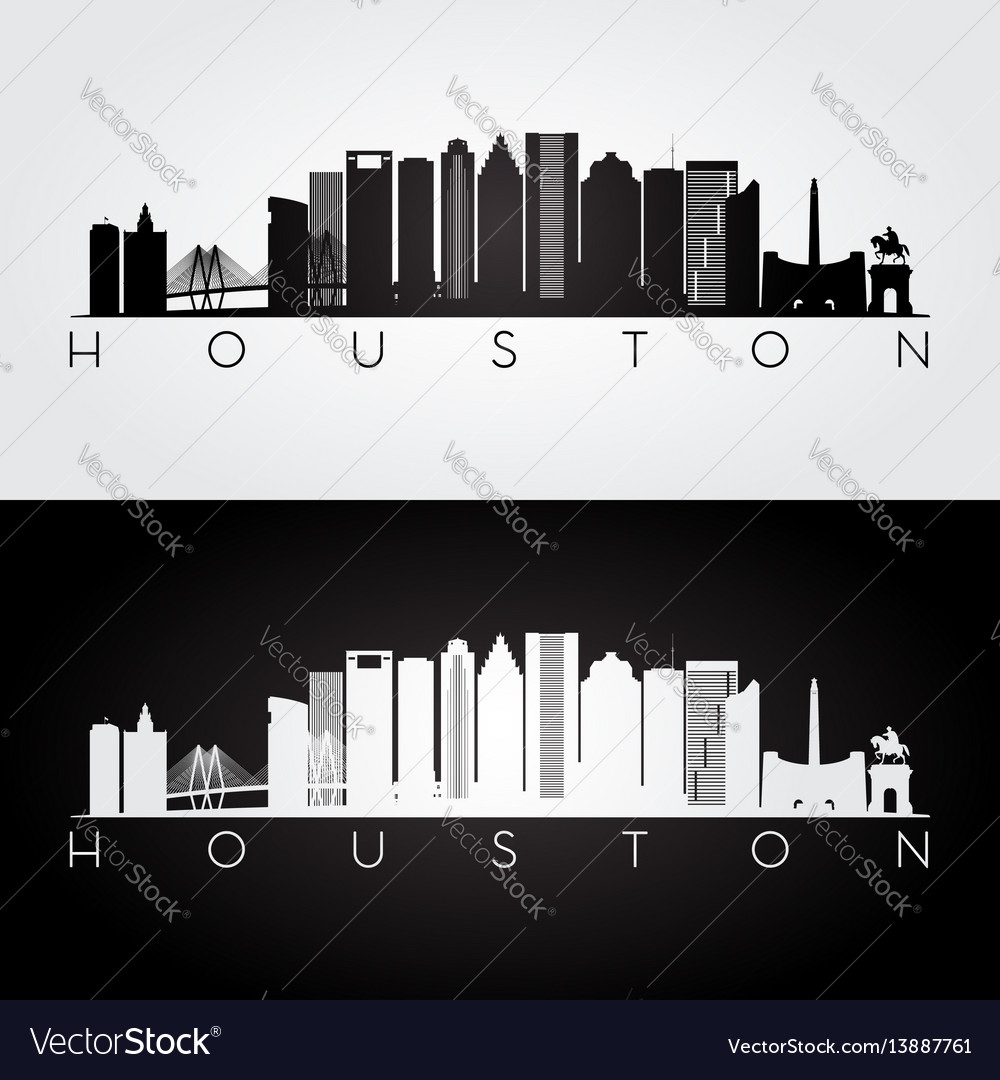Houston usa skyline and landmarks silhouette vector image