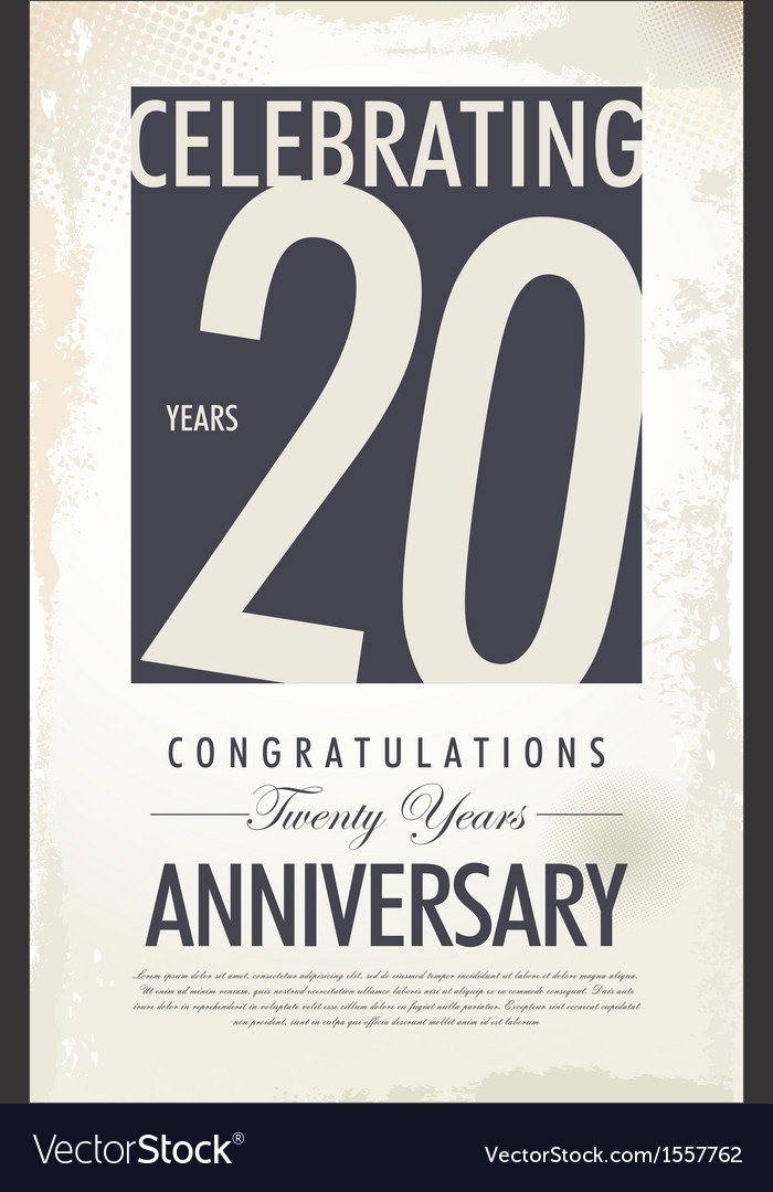 20 years anniversary retro background vector image