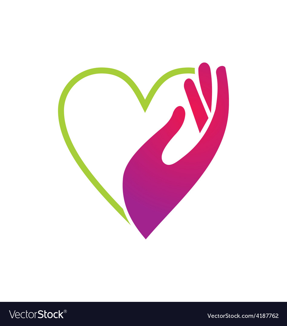 Heart hand care beauty logo vector image