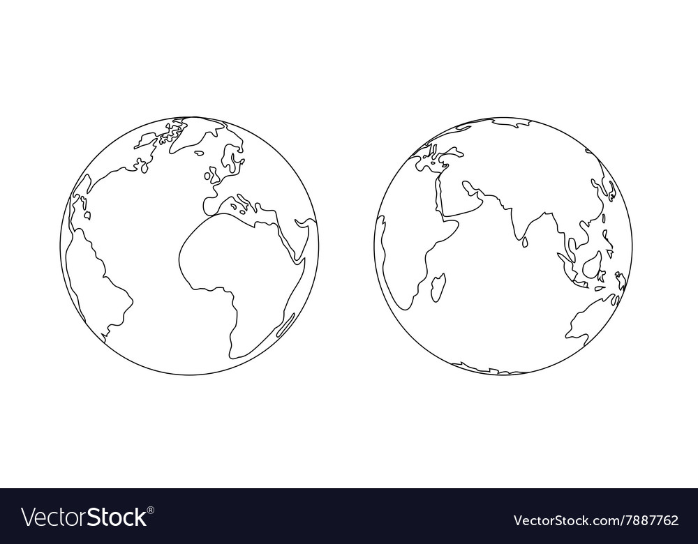 World Planet Earth Globe Outline Icon Royalty Free Vector - World outline