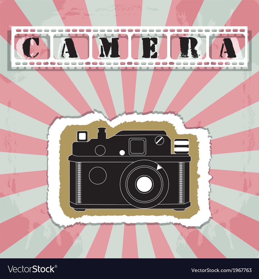 Retro camera in a scrapbook style vector image