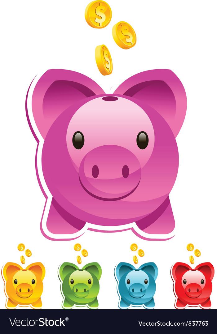 Shiny Piggy Bank vector image