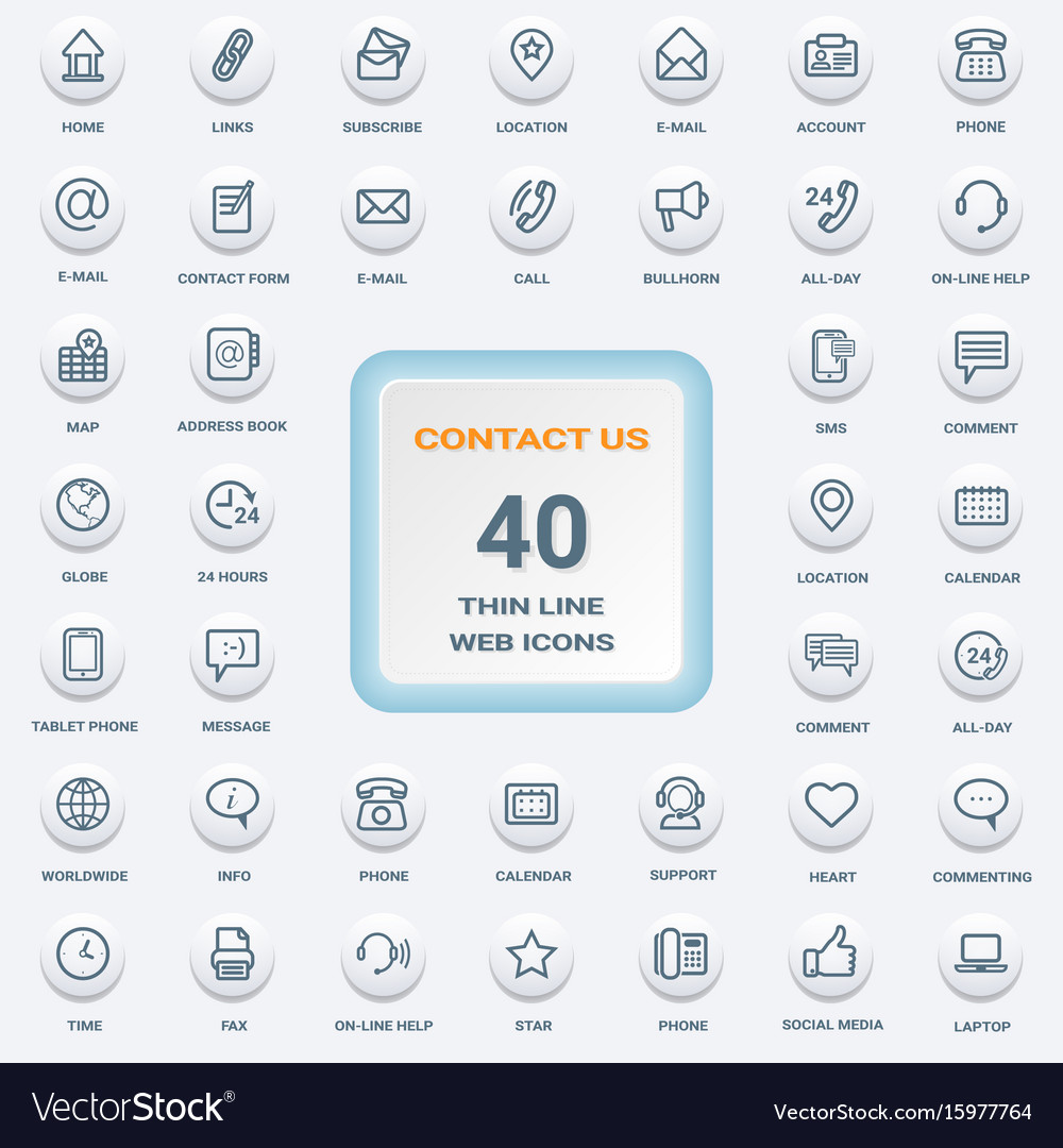 Contact us - set of white round flat thin line web vector image
