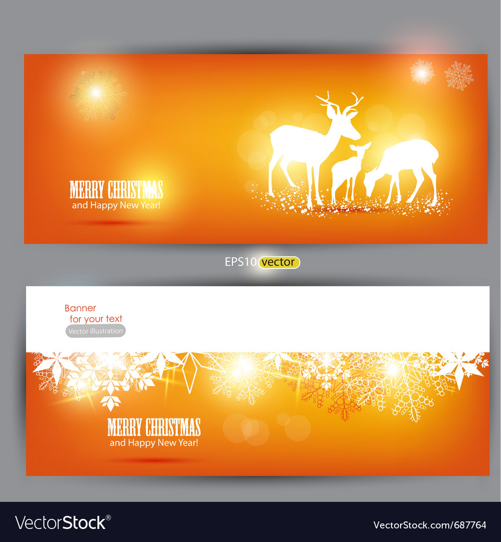 Elegant christmas banners with deers with p vector image