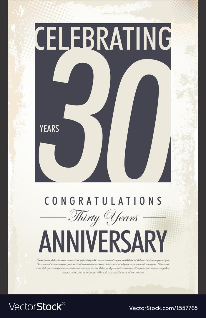 30 years anniversary retro background vector image