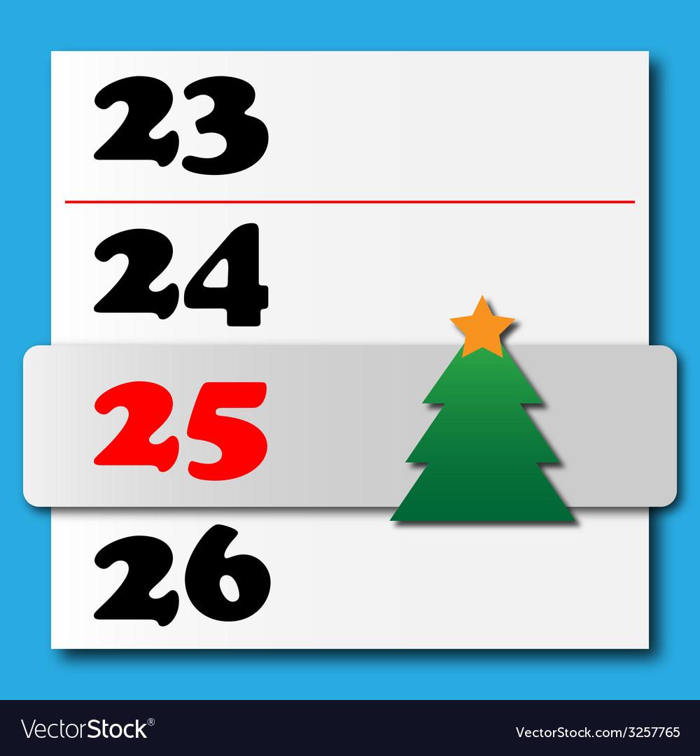 Christmas calendar with a sliding tree vector image