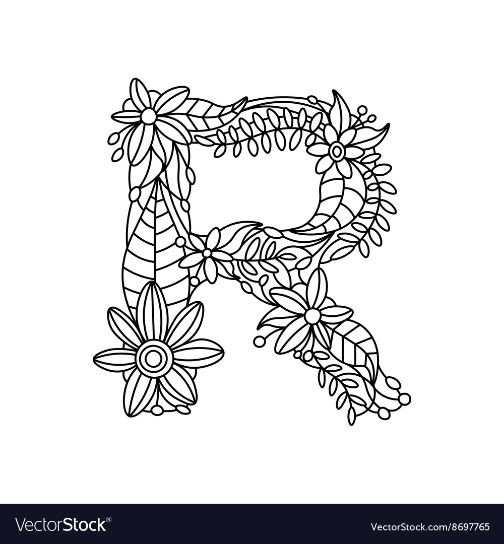Digital Coloring Page Letter R from Letter