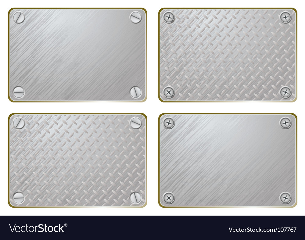 Metal name plate vector image