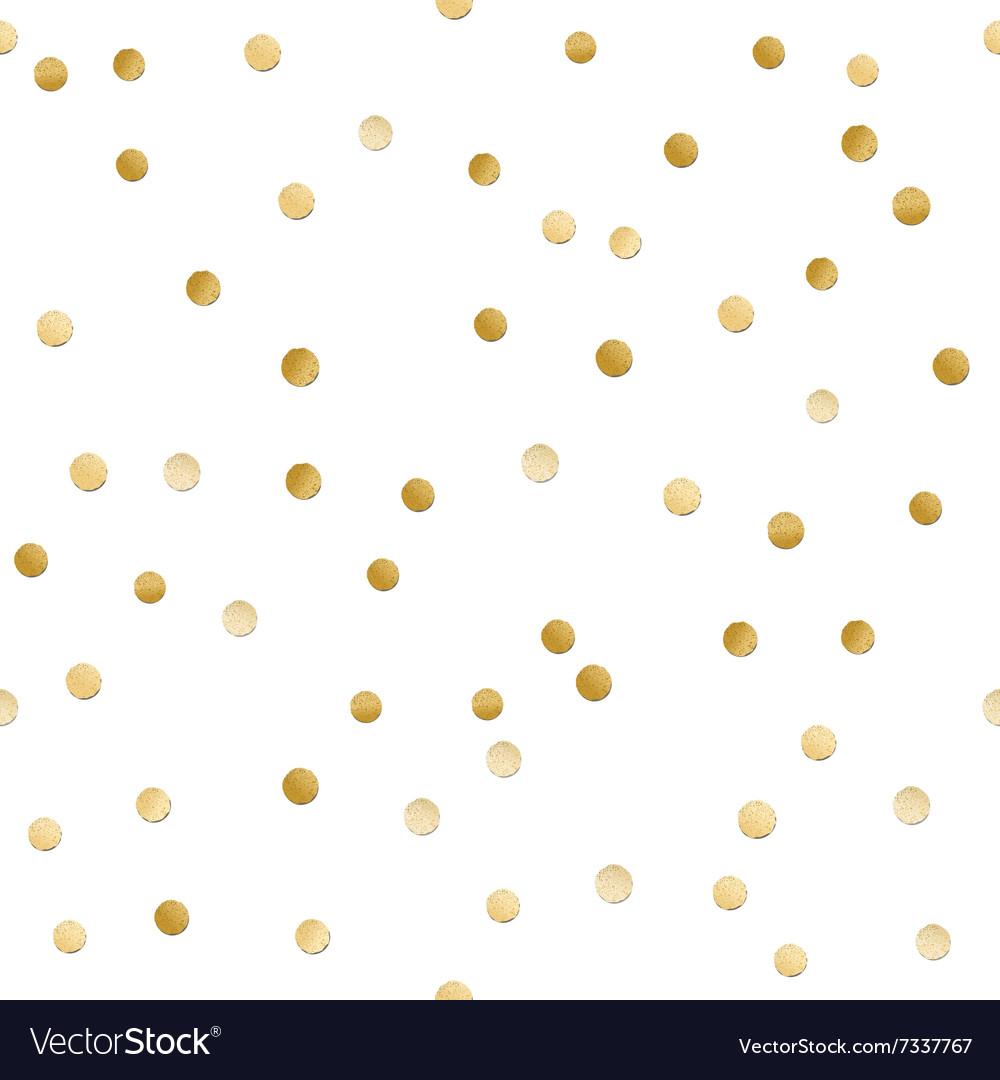 Seamless scattered shiny golden glitter polka dot vector image