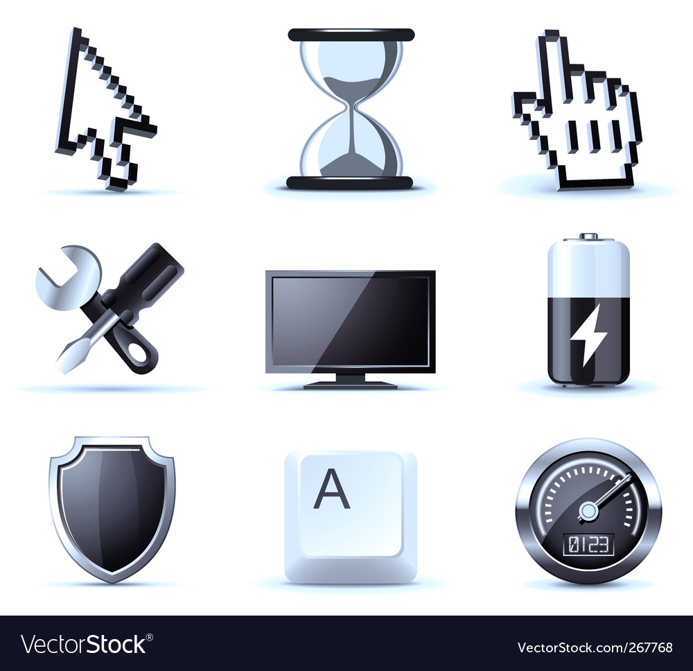 Computer icons bw series vector image