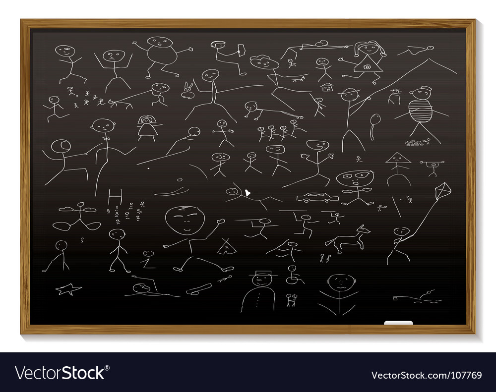 Stick man blackboard Vector Image