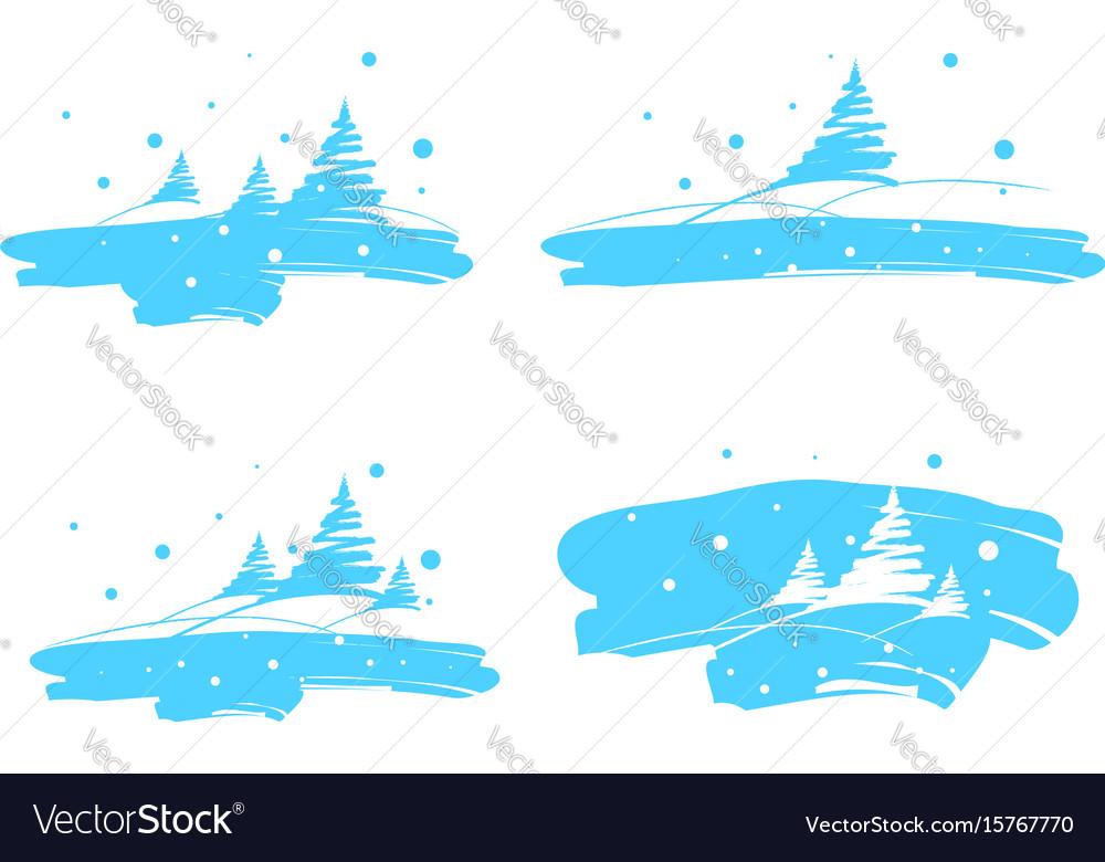 Winter landscape drawing brush vector image