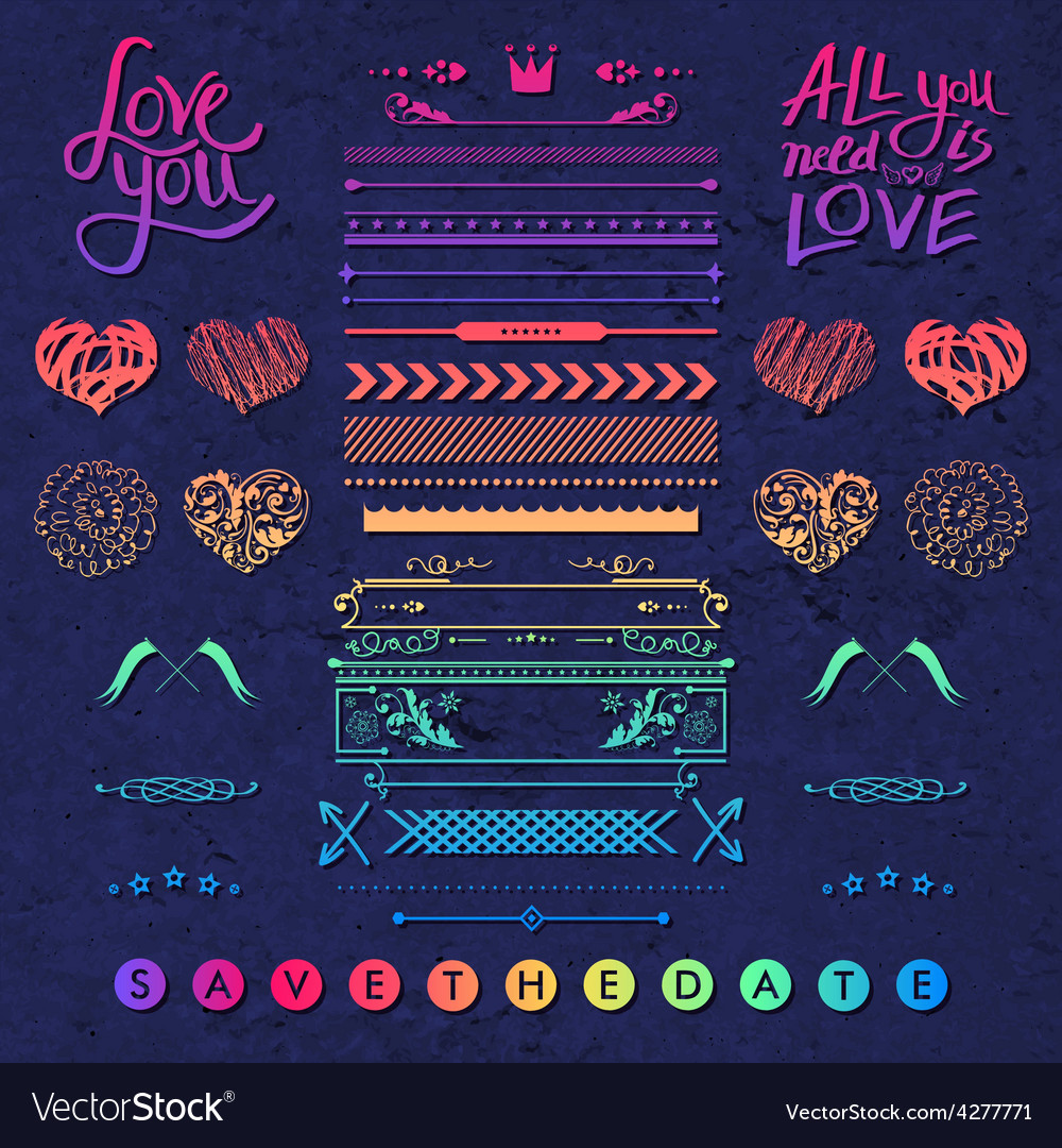 Set of frames hearts and borders design elements vector image