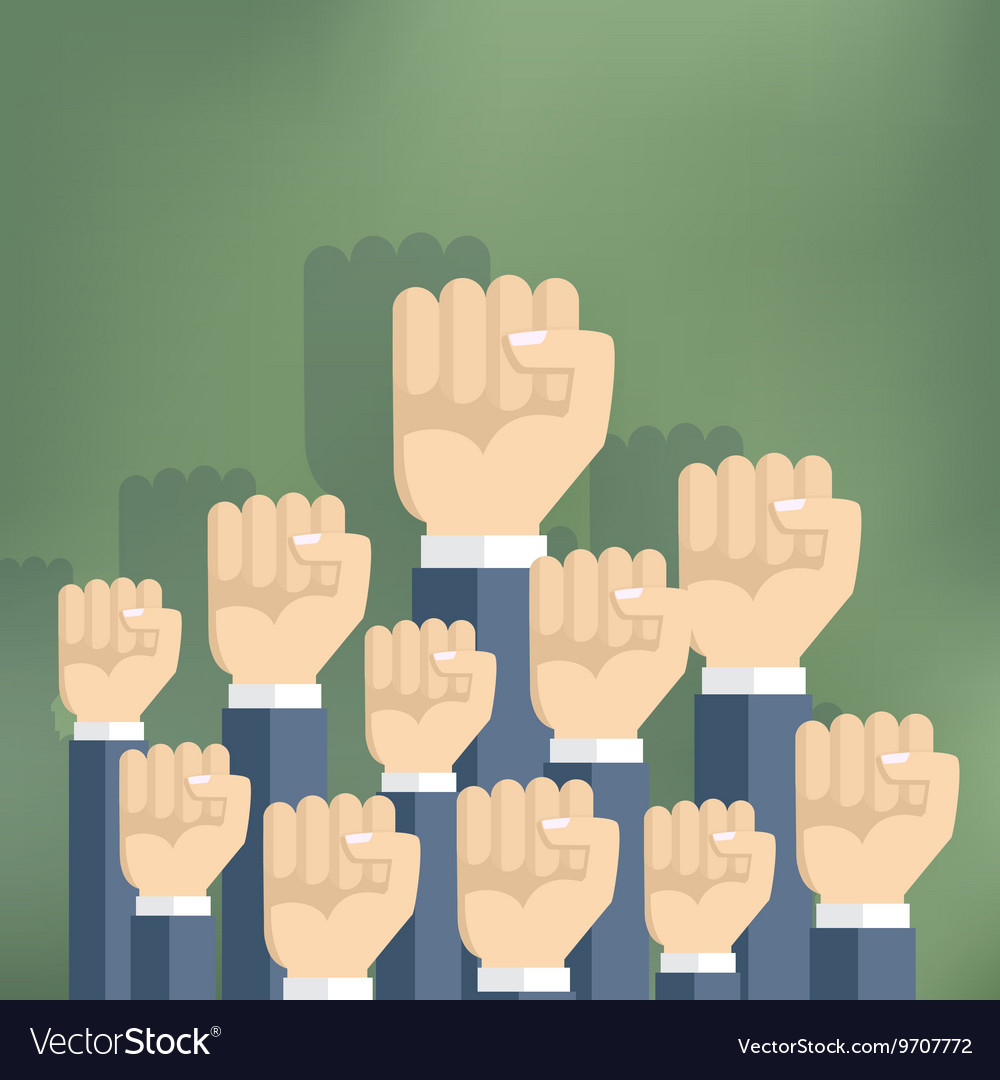 Group of fists raised in air vector image